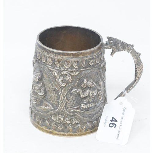 46 - An Indian silver coloured metal mug, decorated figures in relief, inscribed and dated 1902, 8.5 cm h...