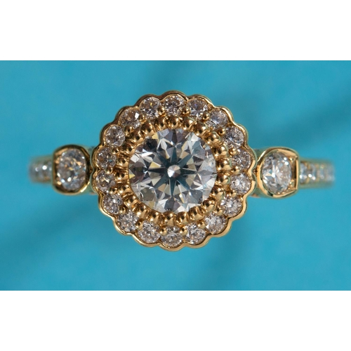 472 - An 18ct yellow gold and diamond flowerhead cluster ring, approx. ring size M See illustration...