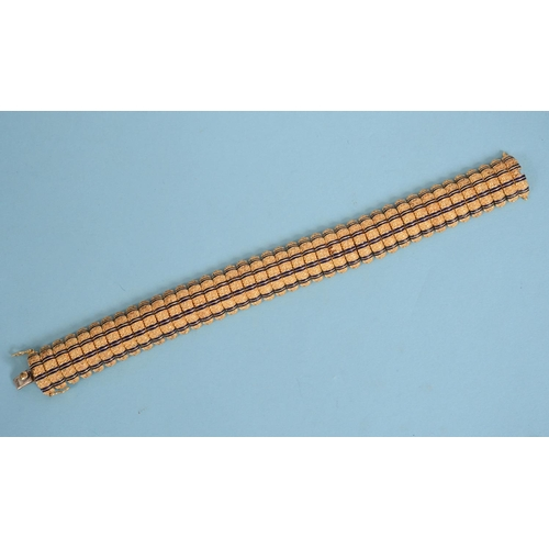 490 - An 18ct textured gold and blue enamel bracelet, approx. 49.2 g (all in)  See illustration...