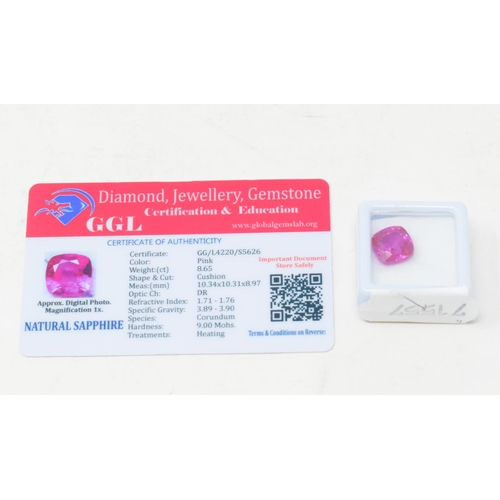 507 - A cushion cut pink natural sapphire, 8.65ct, with GGL certificate...