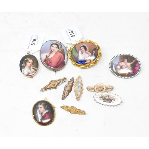 516 - A late 19th century oval porcelain plaque, decorated a musician, other porcelain plaque brooches and...