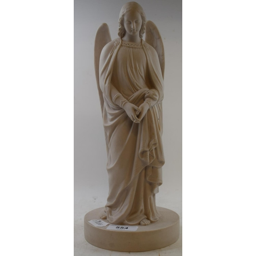 554 - A Mintons Parianware figure, of an angel, impressed mark to base, 32 cm high...