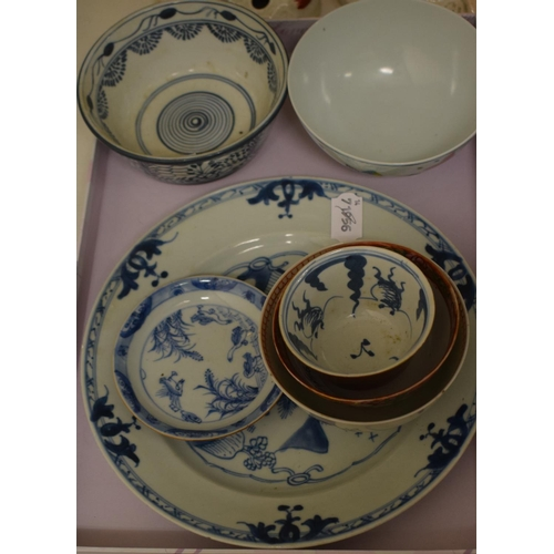 566 - A Chinese blue and white porcelain plate, decorated figures in a landscape, 23 cm diameter, tea bowl...