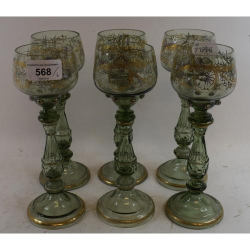 568 - A set of six Art Nouveau style hock glasses, with gilt decoration, 21 cm high (6)...