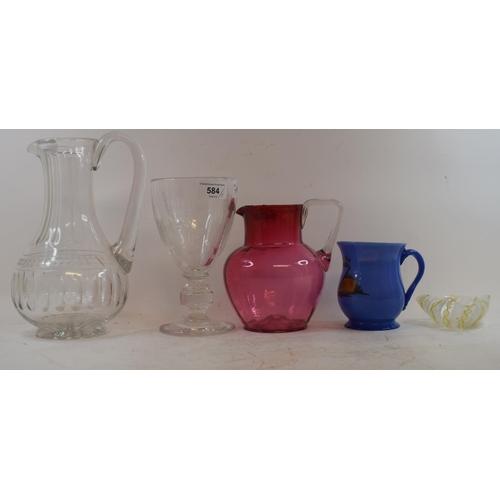 584 - A cut glass water jug, 24.5 cm high, a blue glass mug and other glass (5)...