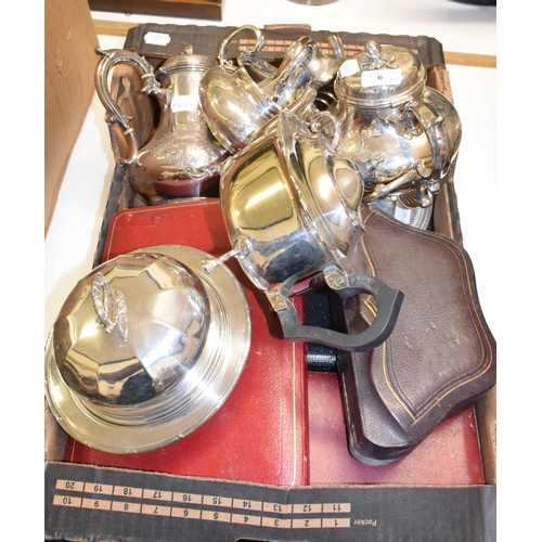 6 - A silver plated four piece tea set, a silver plated toast rack, and other silver plate (box)...