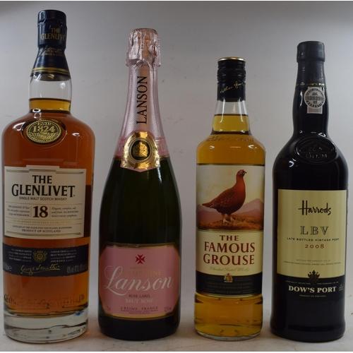 600 - A one litre bottle of Glenlivet 18 years of age, cased, a bottle of Harrods LBV vintage port, 2008, ...