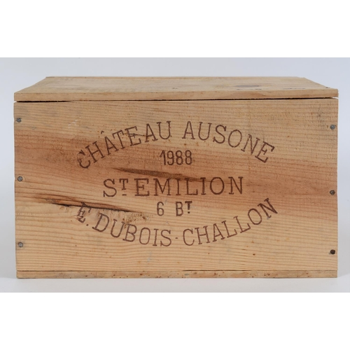 601 - Six bottles of Chateau Ausone St Emilion, 1988, in own wooden case See inside front cover colour ill...