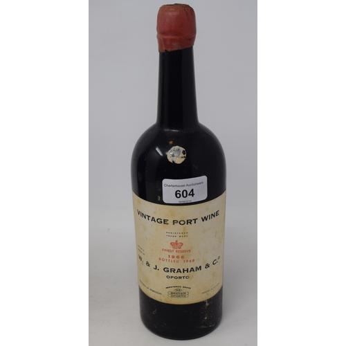 604 - A bottle of W. & J. Graham vintage port, 1966, bottled 1968...