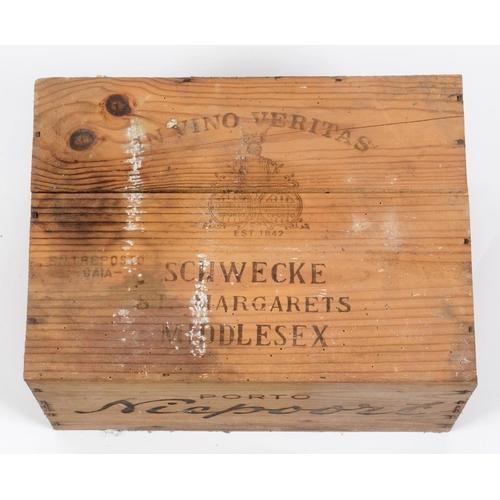 608 - Twelve bottles of Niepoort vintage port, 1982, in own wooden case See illustration...