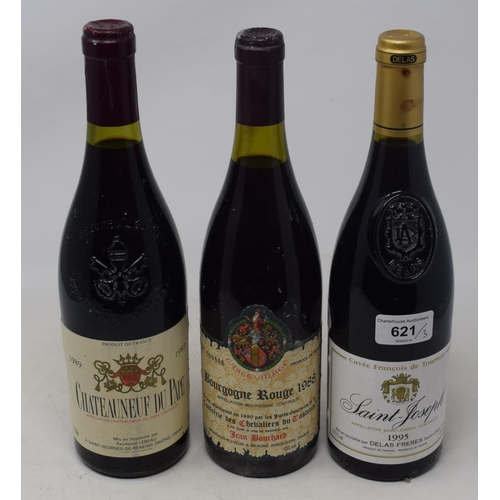 621 - A bottle of St-Joseph Delas Freres, 1995, a bottle of Raymond Lebeau Chateauneuf Du Pape, 1989, and ...