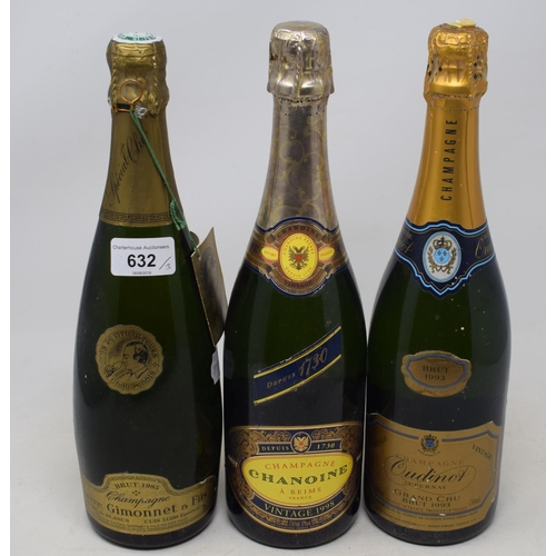 632 - A bottle of Pierre Gimonnet & Fils champagne, 1985, and two other bottles of vintage champagne (3)...