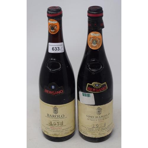 633 - Two bottles of Bersano Barolo, 1975 (2)...