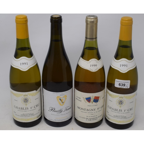 639 - A bottle of Montagny Premier Cru, 1990, two bottles of Chablis Premier Cru 1991, and another bottle ...
