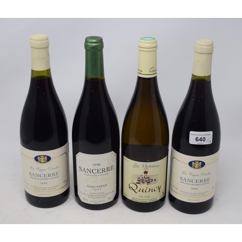 640 - Two bottles of La Vigne Duclos Sancerre, 1996, another bottle of Sancerre and a bottle of Quincy, 20...