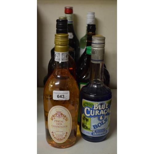 643 - A bottle of Pineau Des Charentes, and nine other bottles of liqueur (10)...