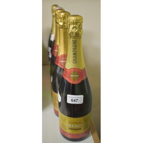 647 - Three bottles of Bredon champagne, and three other bottles of sparkling wine (6)...