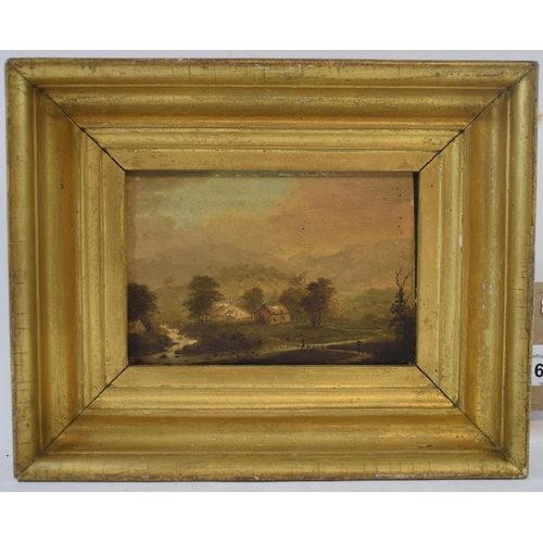 656 - EXTRA LOT:  19th century, a landscape, oil on panel, inscribed Isle of Arran to reverse, 9 x 14 cm...