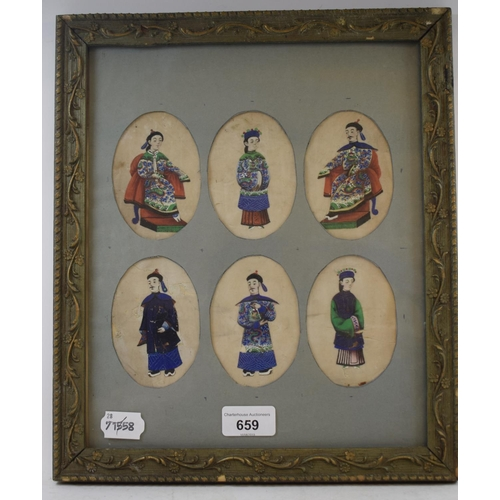 659 - Chinese School, a full length portrait, watercolour on pith paper, 9.5 x 6.5 cm, and five others, fr...