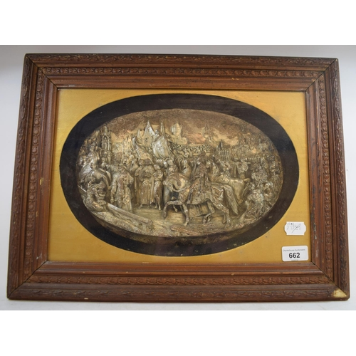 662 - A Continental oval relief panel, depicting Joan of Arc and her troops, signed Justin, 19 x 31 cm...