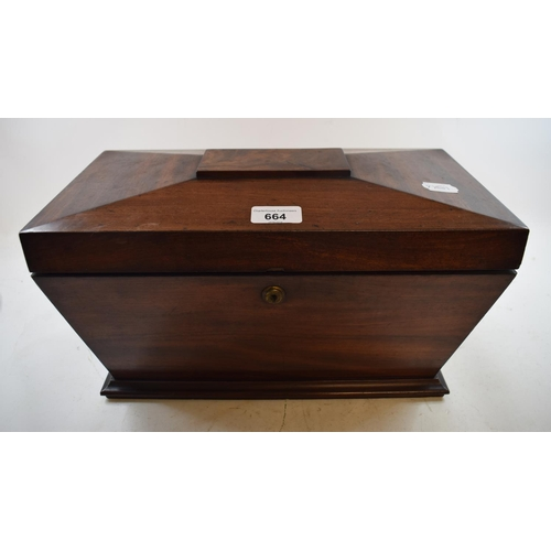 664 - An early Victorian mahogany tea caddy, of sarcophagus form, 39 cm wide...