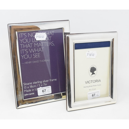 67 - Two modern silver photograph frames (2)...