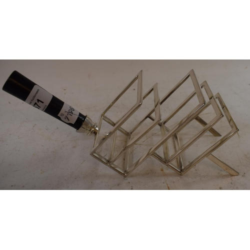 671 - A Dr Christopher Dresser style plated toast rack, 24 cm wide...