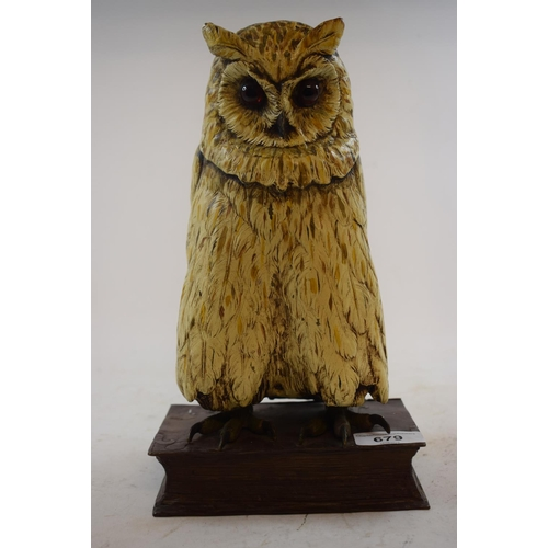 679 - A painted bronze owl on a book, 27 cm high...