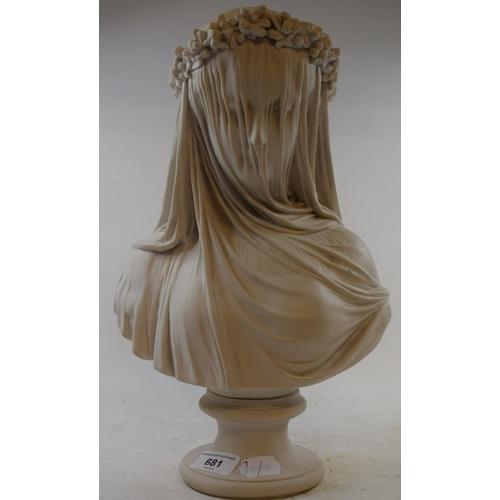 681 - A composition bust, the veiled bride, 36 cm high...