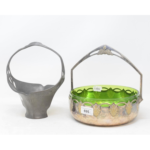 695 - A WMF silver plated basket, decorated stylised wheat bushels, with a green glass liner, 24 cm wide, ...