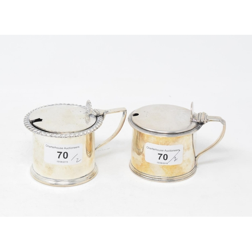 70 - A George III style silver mustard pot, Sheffield 1930, and another similar, approx. 9.1 ozt (2)...
