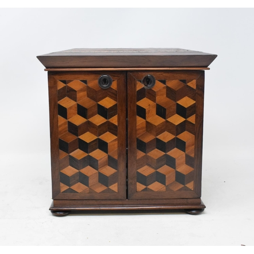 702 - LOT WITHDRAWN:  A Victorian Tunbridge ware table top rosewood cabinet, with geometric parquetry deco...