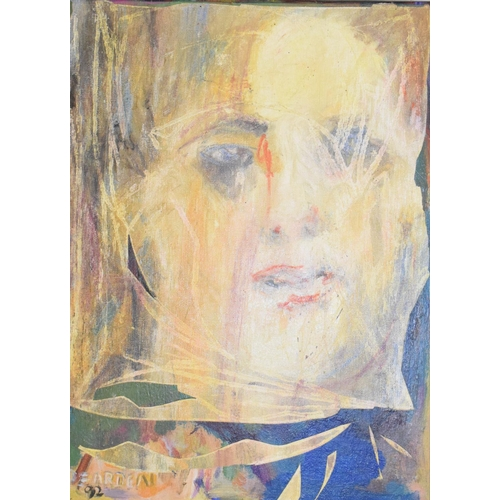 723 - Patricia Dearden, Girl in a Pub, acrylic on canvas board, signed and dated '92, 38.5 x 28...