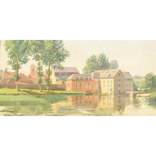 726 - Leslie G Davie, Mill at Pont Rean, Brittany, oil on board, signed and dated '74, 29 x 59 cm...
