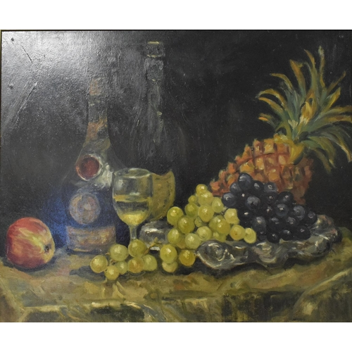 728 - Continental school, 20th century, a still life of wine, grapes, a pineapple and an apple, oil on boa...