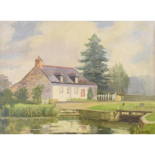 729 - Leslie G Davie, The Lock Keepers Cottage, oil on canvas board, signed and dated '74, 29 x 39 cm...