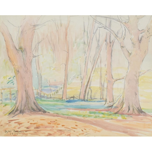 732 - Sybil Travers, Early Spring Sherborne Park, watercolour, signed and dated 1925, 23 x 29 cm, three ot...