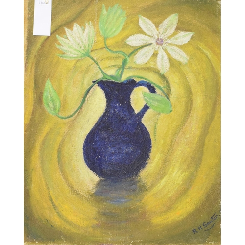 734 - Rudolf Helmut Sauter (1895-1977), a still life of flowers in a jug, oil on canvas board, signed and ...