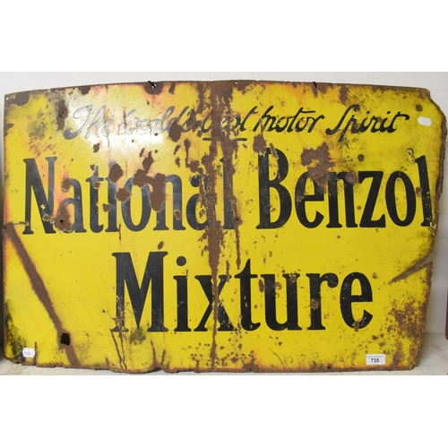 735 - An enamel advertising sign, National Benzyl Mixture (some enamel losses and corrosion damage) 90 cm ...