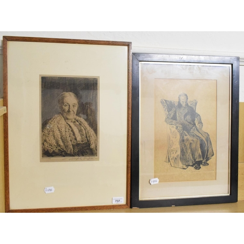 737 - A Joseph Simpson artist's proof etching of an old man, signed in pencil, and another print (2)...