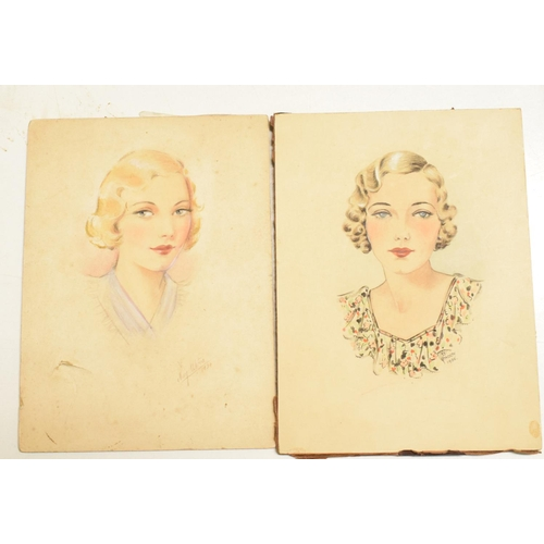 741 - May Upton, a head and shoulders portrait of a lady wearing red lipstick, watercolour, signed and dat...