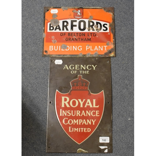 742 - Two small enamel advertising signs, agency of the Royal Insurance Company Limited, 25 cm wide and BA...