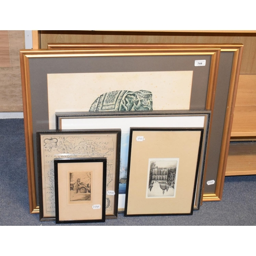 744 - THIS LOT HAS BEEN WITHDRAWN:  A J A Wates artist's proof etching, Polperro, signed, two other etchin...