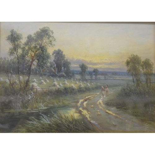 748 - English school, figures walking along a country lane, oil on canvas, monogrammed J S, 24 x 34 cm...