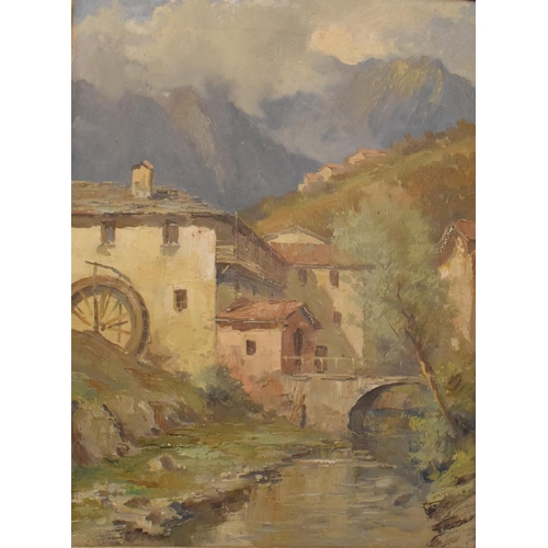 750 - Continental school, early 20th century, alpine chalets, oil on canvas, indistinctly signed, 39 x 28....