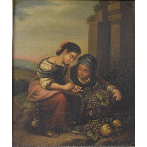 751 - Continental school, the fruit pickers, oil on panel, 20 x 17 cm, pair (2)...