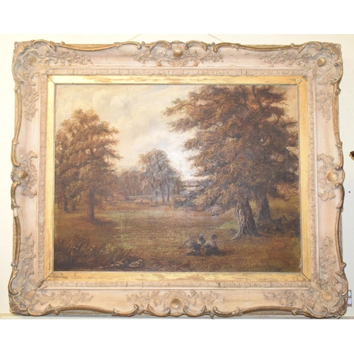 756 - Constance Dickins, a parkland scene with figures and animals, oil on canvas, signed and dated 1879, ...