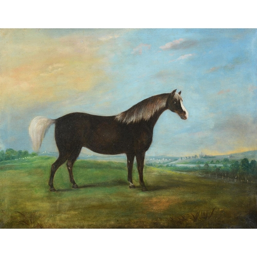 759 - English school, 19th century, a study of a horse in a landscape, oil on canvas, 49 x 62 cm, and its ...