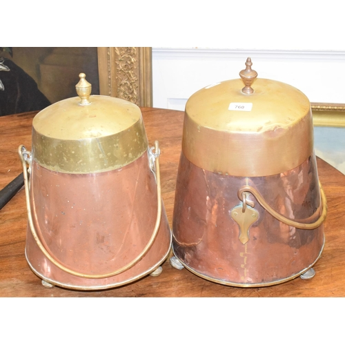 760 - A pair of brass and copper churns, 42 cm high (2)...