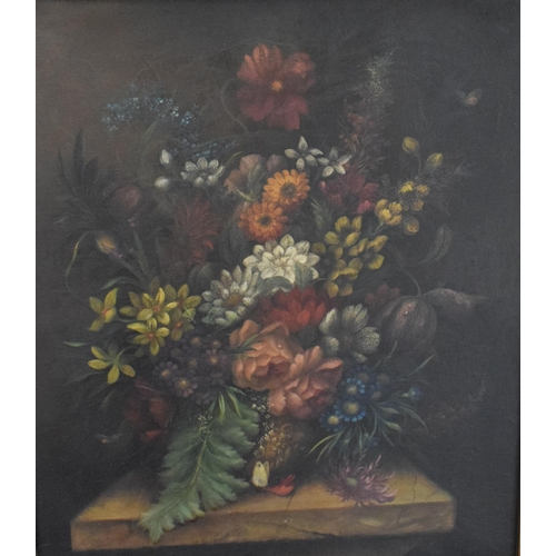 764 - 19th century, a still life of flowers, oil on canvas, 67.5 x 57 cm...